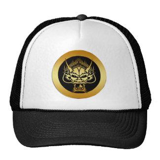 GOLD ORIENTAL DRAGON HEAD MESH HAT
