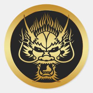GOLD ORIENTAL DRAGON HEAD ROUND STICKER
