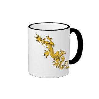 GOLD ORIENTAL DRAGON RINGER MUG