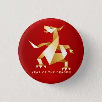 Gold Origami Year of the Dragon on Red 1 Inch Round Button
