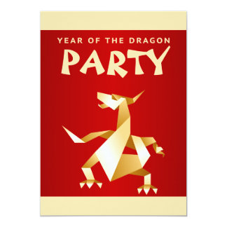 """Gold Origami Year of the Dragon on Red Party 5"""" X 7"""" Invitation Card"""