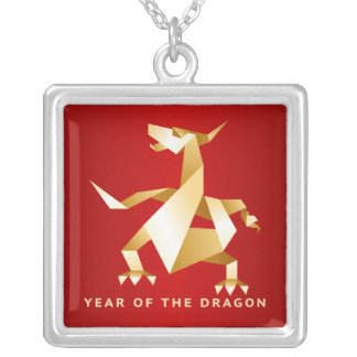 Gold Origami Year of the Dragon on Red Silver Plated Necklace