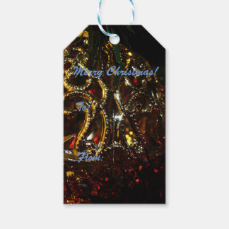 Gold Ornament on Red Tinsel Gift Tags