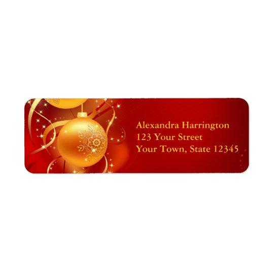 Gold Ornament Sparkle, Holiday Return Address Label