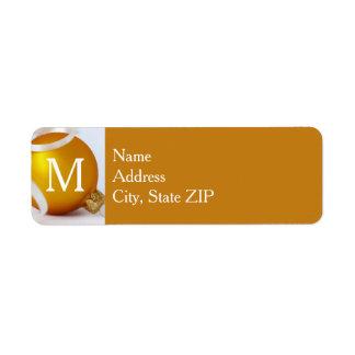 Gold Ornament with Monogram, Gold Background Return Address Label