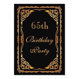 "Gold Ornate Swirls 65th Birthday 5"" X 7"" Invitation Card"