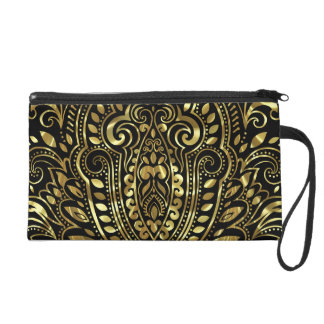 Gold Ornate Swirls One Black Background Wristlet