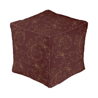 Gold Outline Floral Flourish Burgundy Cube Pouf