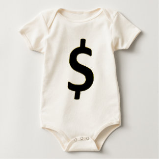 Gold Outlined $ Baby Bodysuit