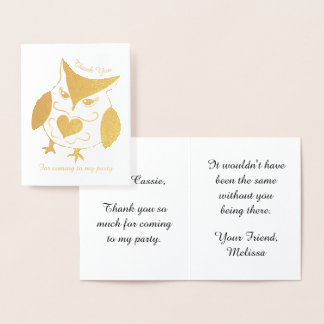 Gold owl girls birthday party thank you foil card