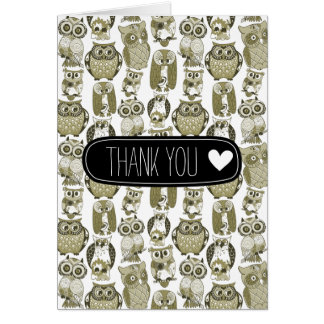 Gold Owls thank you Stationery Note Card