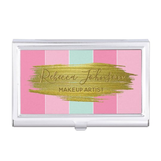 Gold Paint Colourful Stripes - Business Card Business Card Holder