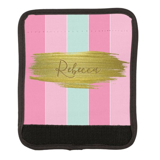 Gold Paint Colourful Stripes Luggage Handle Wrap