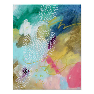 Gold paint dotted abstract poster