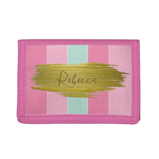 Gold Paint Stroke Colorful Stripes - Wallet