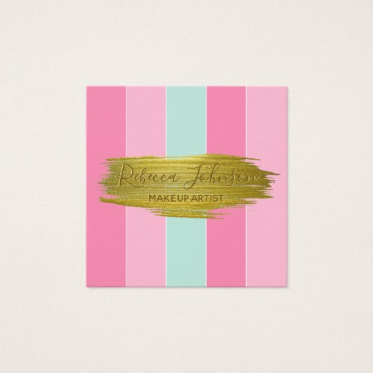 Gold Paint Stroke Colourful Stripes - Business Square Business Card