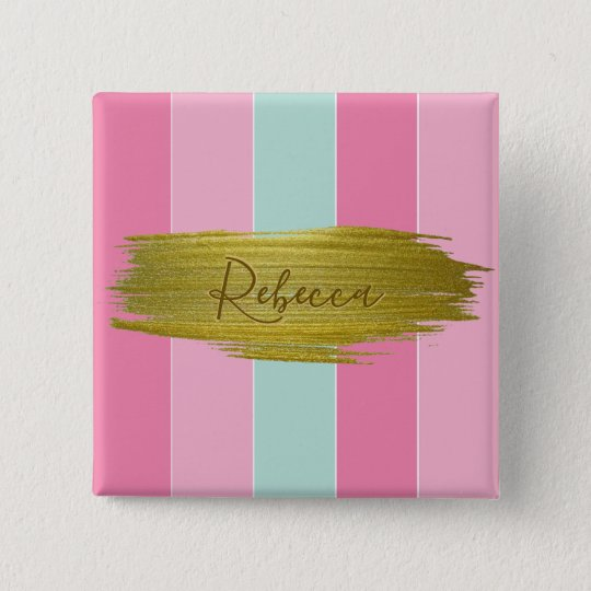 Gold Paint Stroke Colourful Stripes - Button