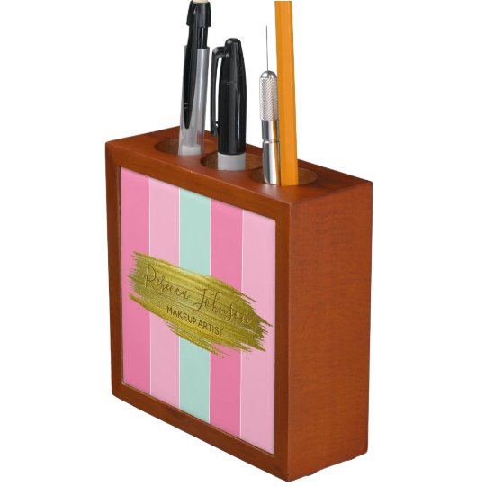 Gold Paint Stroke Colourful Stripes Desk Organizer