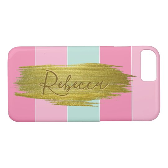 Gold Paint Stroke Colourful Stripes - iPhone Case