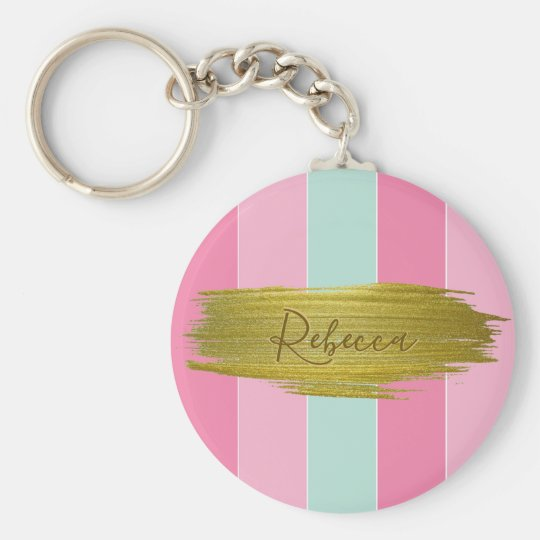 Gold Paint Stroke Colourful Stripes - Keychain