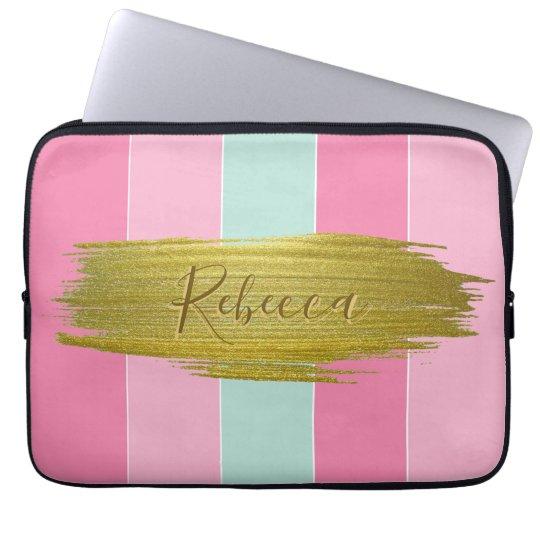 Gold Paint Stroke Colourful Stripes - Laptop Laptop Sleeve