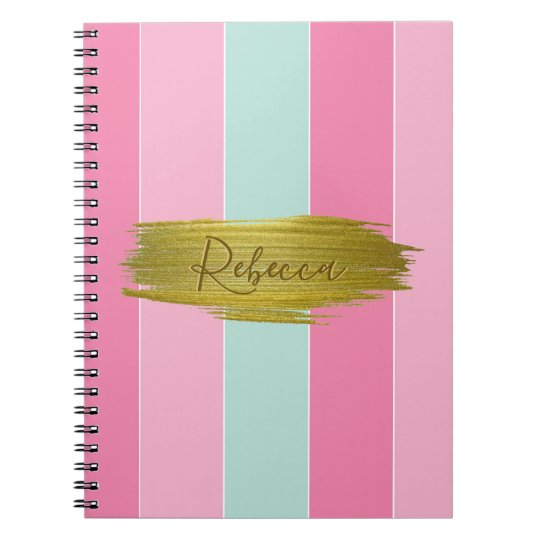 Gold Paint Stroke Colourful Stripes - Notebook