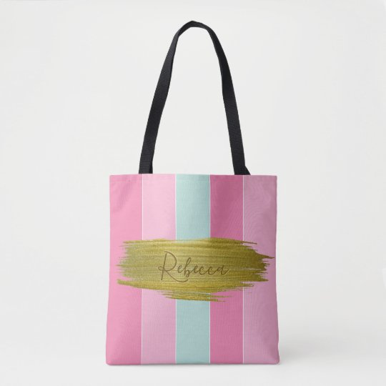 Gold Paint Stroke Colourful Stripes - Tote Bag