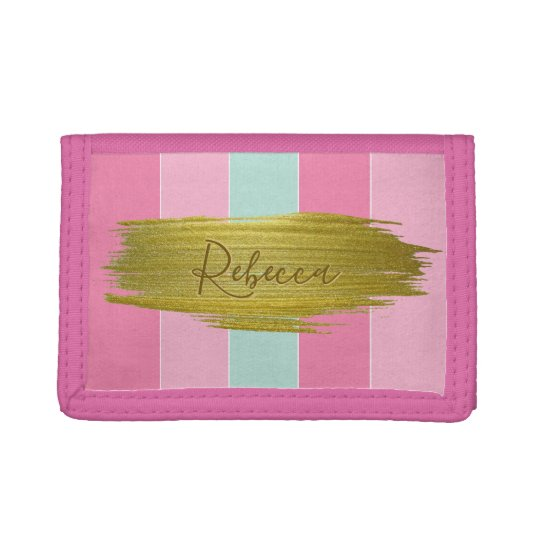 Gold Paint Stroke Colourful Stripes - Wallet