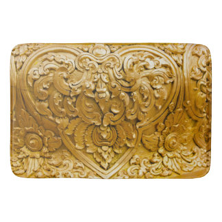 Gold painted,antique wood work,vintage,elegant, bathroom mat