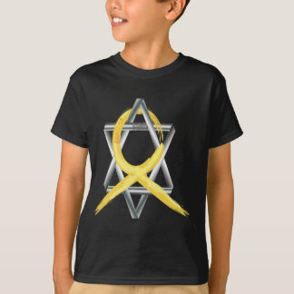 "Gold ""Painted"" Childhood Cancer Ribbon T-Shirt"