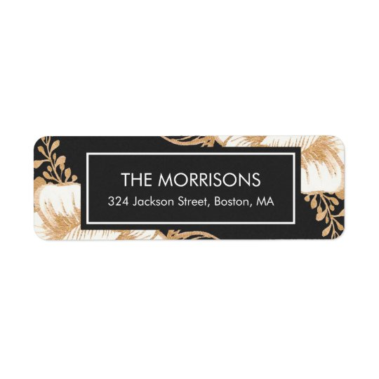 Gold Painted Flowers Christmas Holiday Labels