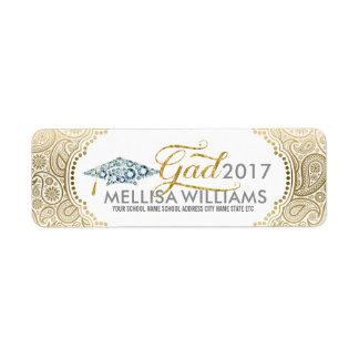 Gold Paisley Diamonds Grad hat & Modern Typography Return Address Label