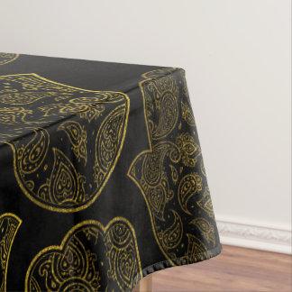 Gold Paisley Hamsa Hand pattern Tablecloth