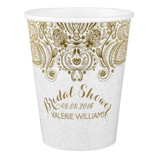 Gold Paisley Lace Bridal Showers Template Paper Cup