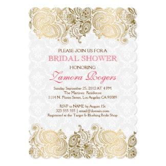 Gold Paisley Lace White Damasks Invitation