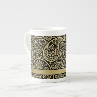 Gold Paisley on Black Background with Gold Ribbon Tea Cup