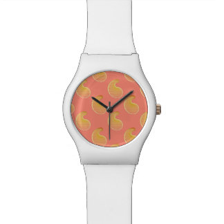 Gold paisley on coral pink wristwatch