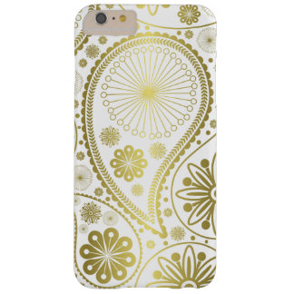 Gold paisley pattern barely there iPhone 6 plus case