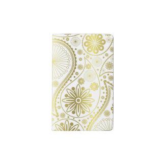 Gold paisley pattern pocket moleskine notebook