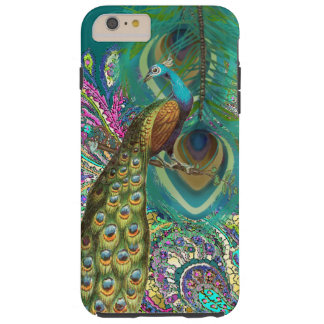 Gold Paisley Peacock & Feather You Choose Color Tough iPhone 6 Plus Case