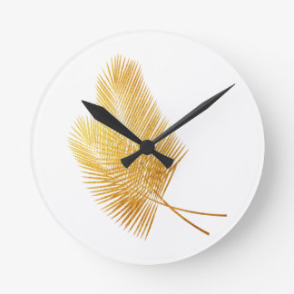 Gold palm leaf tropical clock time