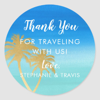 Gold Palm Tree & Aqua Watercolor Beach Destination Classic Round Sticker