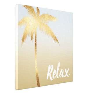 Gold Palm Tree Ombre Canvas Print