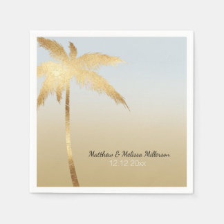 Gold Palm Tree Ombre Personalized Wedding Napkins Disposable Napkins