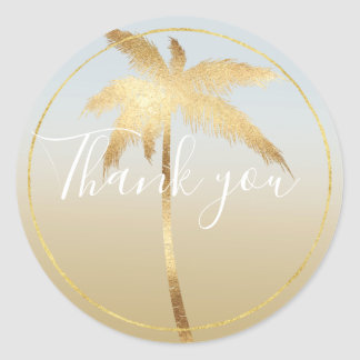 Gold Palm Tree Ombre Thank you Classic Round Sticker