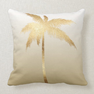 Gold Palm Tree Ombre Throw Pillow