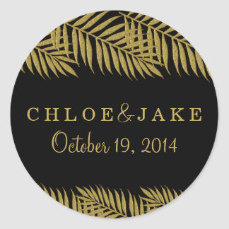 Gold Palm Tree Tropical Wedding Sticker