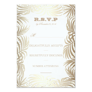 """Gold Palms Leaves and Navy Back Beach RSVP 3.5"""" X 5"""" Invitation Card"""