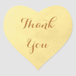 Gold Parchment Thank You Heart Sticker