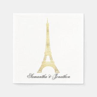 Gold Parisian Eiffel Tower Wedding Custom Napkins Disposable Napkins